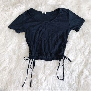 Navy Blue Cropped Tee